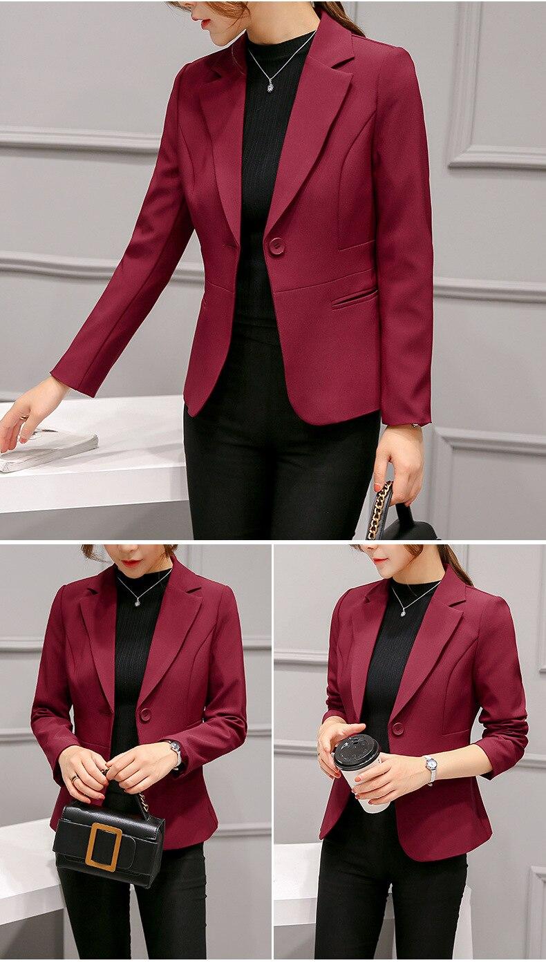 Black Women Blazer Formal Blazers Lady Office Work Suit Pockets Jackets Coat Slim Black Women Blazer Femme Jackets 23
