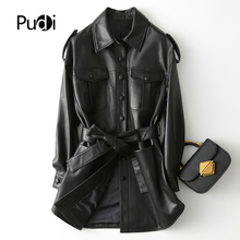 Jacket Black-Color Real-Leather Coat Female Winter Women Pudi Girl Long A29108
