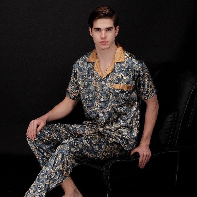 Mens Stain Silk Pajama Set Modern Summer Short Sleeve Sleepwear Men Nightgown Lounge Sleep Wear Nightwear Suit Sleep Top Bottoms