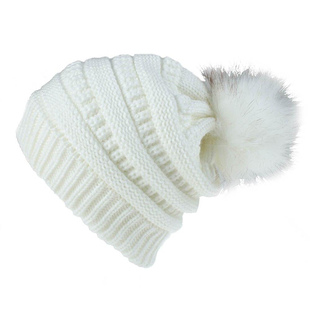 Faux Fur Women Knit Pom Pom Hat Winter Beanies Warm Skull Ski Cap White Beige Black Grey Lt.purple Dusty Pink