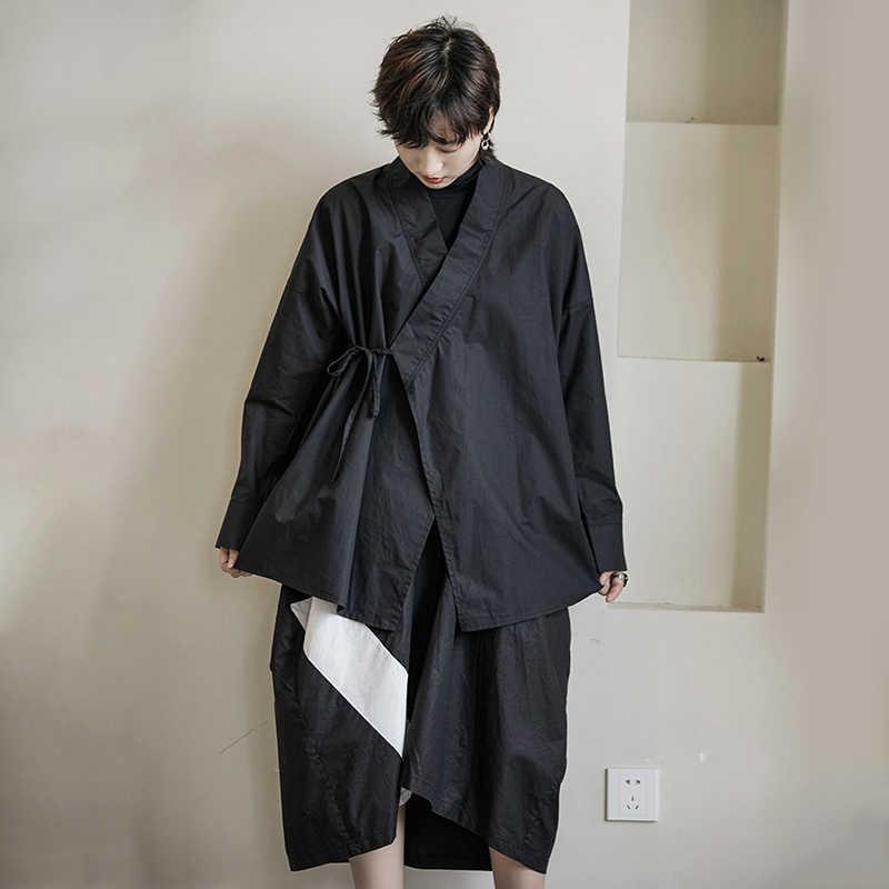 [EAM] Женская черная блузка с повязкой, новая свободная рубашка со стоячим воротником и длинным рукавом, модная универсальная Весенняя Осенняя 2019 1B210