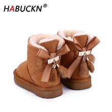 HABUCKN Australian Genuine Leather Fashion Girls Winter Snow Boots For children Warm Winter child Shoes Pendant tassel dusk Shoe