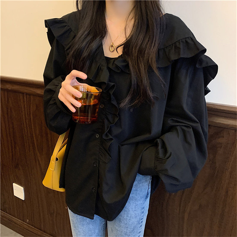 Alien Kitty Chic Ruffles 2020 Sweet High Quality Solid Elegant Feminine Vintage Loose Fashion All-Match Casual Female Shirts