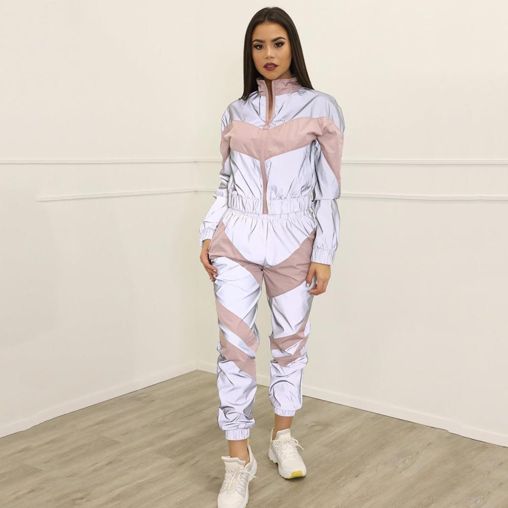 2019 Autumn And Winter European And American Women's Stitching Reflective Sports Leisure Suit Two-piece