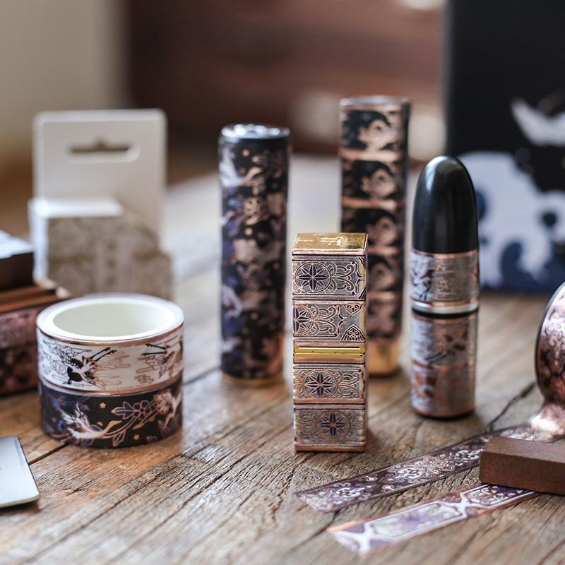 Mohamm  Bamboo Crane Bronzing Series Stationery Washi Masking Tape Scrapbooking Girl Decoration School Supplies
