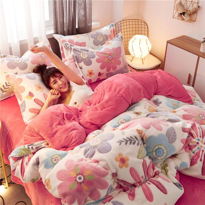 Winter Super Warm Long Plush Bedding Set Flannel Double-Sided Fleece Duvet Cover Bed Sheet Pillowcase Queen King Size 4Pcs