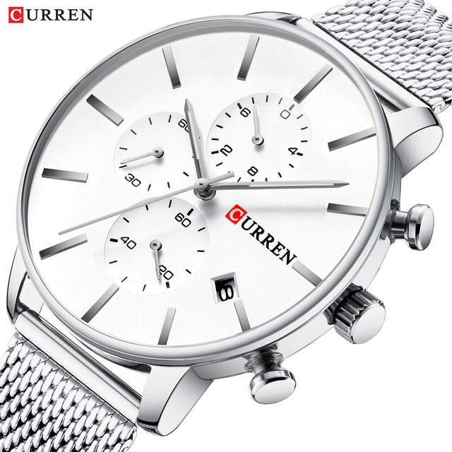CURREN Men Luxury Business Quartz Military Watch Fashion Stainless Steel Band Wrist Watches Clock Date Relogio Dropshipping