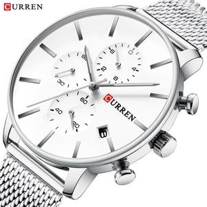Image 1 - CURREN reloj militar de cuarzo para hombre, reloj masculino de pulsera de acero inoxidable, con fecha