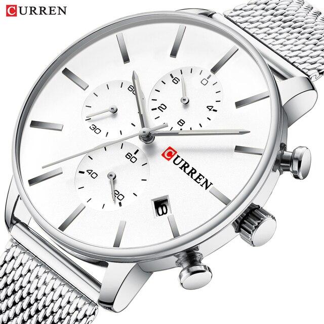 CURREN reloj militar de cuarzo para hombre, reloj masculino de pulsera de acero inoxidable, con fecha