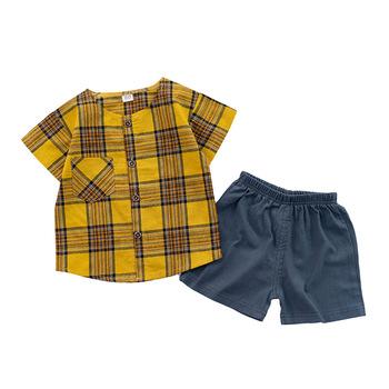 Modna w kratę nowonarodzone dziecko chłopców ubrania 2020 letnie dzieci chłopiec ubrania zestaw 2 sztuk stroje dla niemowląt odzież dla kostium dla dzieci garnitur tanie i dobre opinie Kids Tales COTTON W wieku 0-6m 7-12m CN (pochodzenie) Unisex Moda O-neck Swetry Krótki REGULAR Pasuje prawda na wymiar weź swój normalny rozmiar