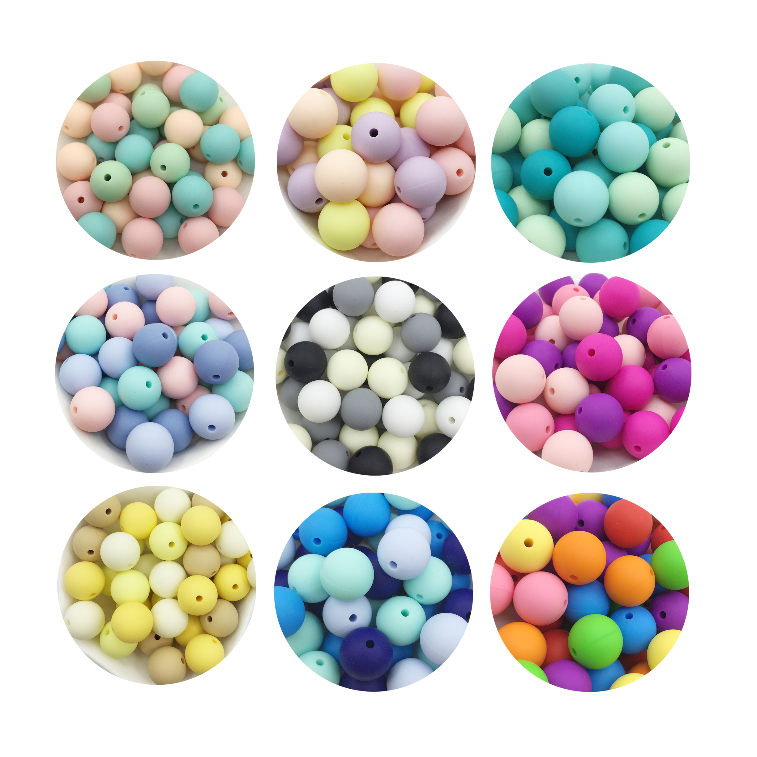 15MM Silicone Beads Teether Aqua Color 100PC Round Silicone Beads 15mm BPA Free Set Silicone Teething Beads Teether(China)