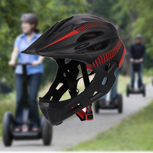 Kids Bike Helmet with Rear Light Protective Riding Chin Safe Balance Full Face Detachable Bicycle Outdoor Cycling