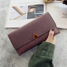 Womens wallets and purses V-shaped decorative long buckle wallet 2019 new multi-function tide simple student red