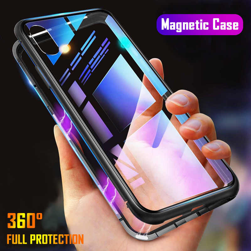 Metalen Magnetische Adsorptie Telefoon Case Voor iPhone 11 Pro 7 8 Plus XS Max X XR Gehard Glas Back Cover voor iPhone 6 6s Plus Cover