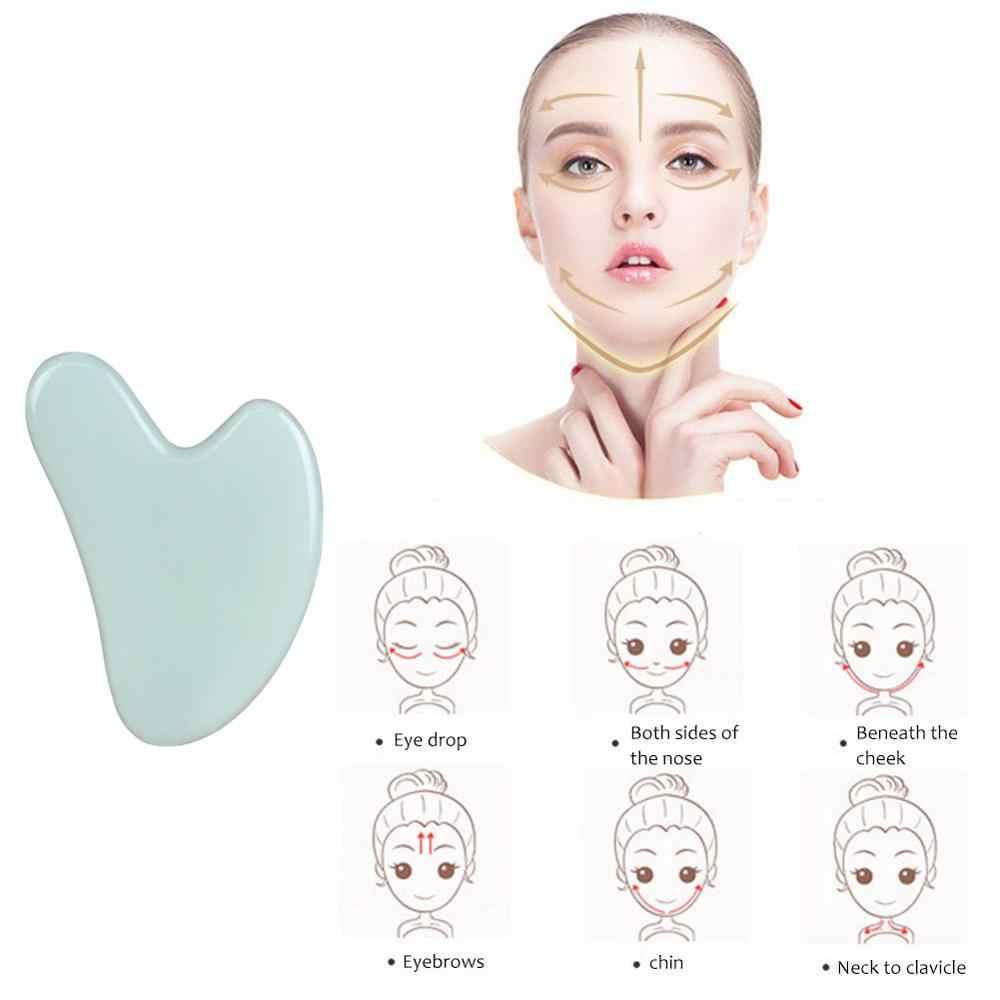 Pedra de jade natural guasha board corpo spa relaxar raspagem massageador ferramentas massagem da pele do corpo alívio da dor da pele raspador