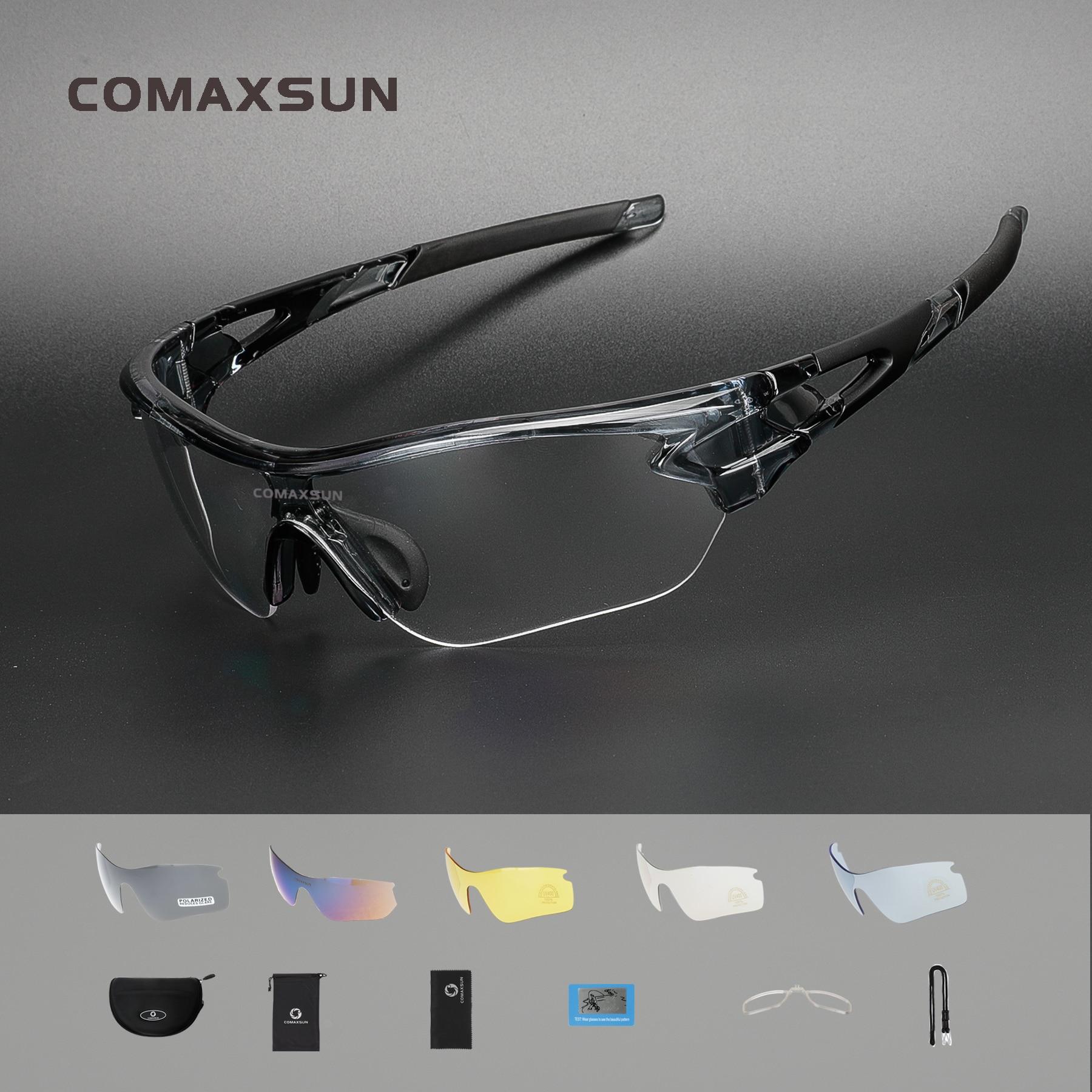 COMAXSUN Professional Polarized Cycling Glasses Bike MTB Goggles Fishing Outdoor Sports TR90 Sunglasses UV 400 5 Lens