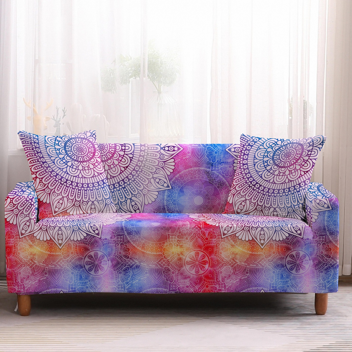 Bohemia Slipcovers Sofa Cover in Mandala Pattern to Protect Living Room Furniture from Stains and Dust 10