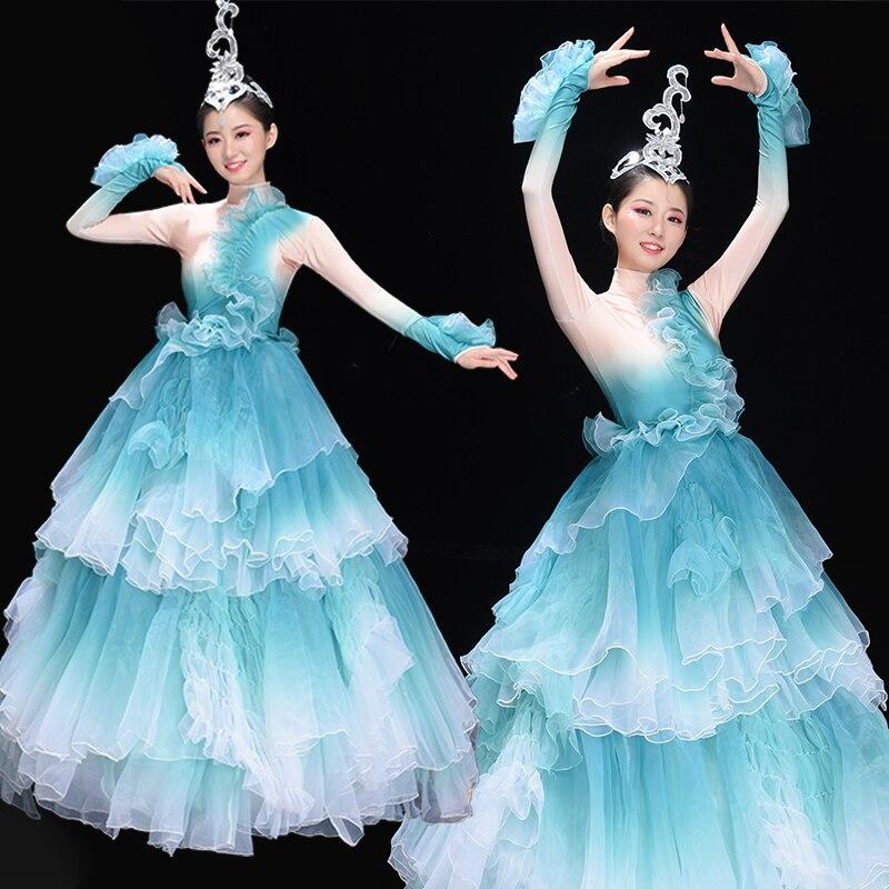 Opening Dance Skirt Women 2019 New High-end Big Skirt Modern Dance Large Dance Partner Dance Costume Red And White Skirt