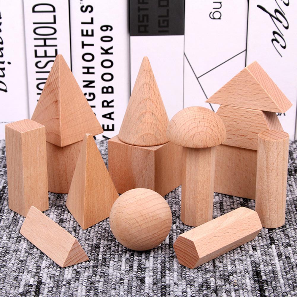 15 шт. деревянный Многофункциональный интерактивный интересные привлекательные пустой 3D в виде геометрических фигур Твердые блоки Детские ...