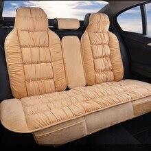 Ciepły pokrowiec na tylne siedzenie samochodu uniwersalny zimowy pluszowa poduszka Faux materiał na pokrowiec na fotel samochodowy mata akcesoria do wnętrza samochodu