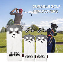 3 Pcs Golf Head Covers Set Wood Head Covers Golf Accessories Headcover Driver Fairway Wood Covers Set with Dog Pattern Numbers(China)