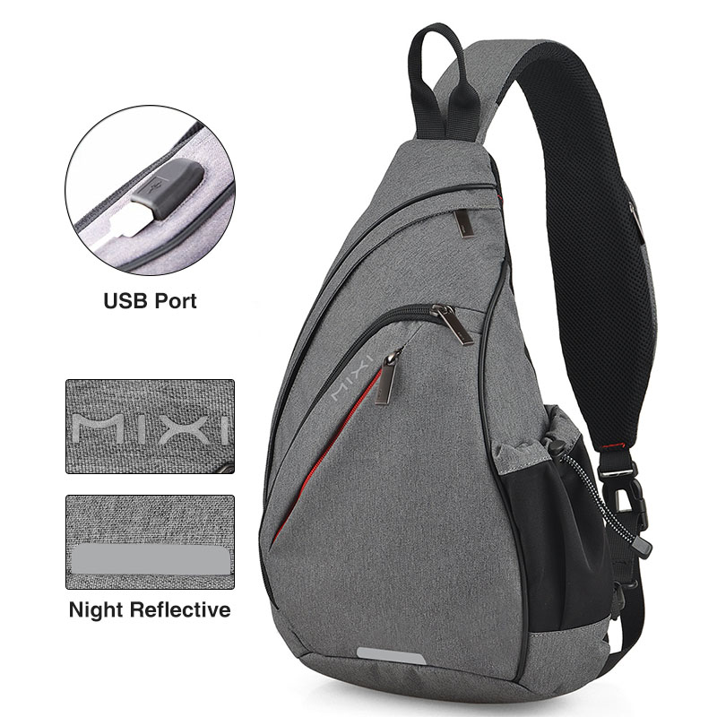 Image 4 - Mixi Men One Shoulder Backpack Women Sling Bag USB Boys Cycling 
