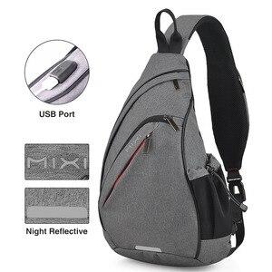 Image 4 - Mixi hommes une épaule sac à dos femmes sac à bandoulière USB garçons cyclisme sport voyage polyvalent mode sac étudiant école université