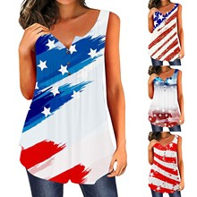 Fast Delivery Women Top Sexy Patriotic American Flag Printed Sleeveless Cropped Slip Tank Tops Clothes Ropa Mujer Haut Femme
