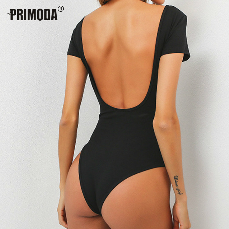 2019 Spring Summer Bodysuits Sexy Skinny Women Rompers Solid Backless Short Sleeve Tops Overalls Party Cotton Bodysuits PR037
