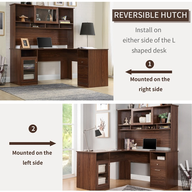 Home Office L-Shaped Desk With Hutch And Glass Doors 6