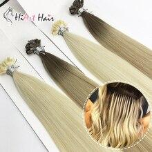 HiArt, 0,8 г/локон, волосы для наращивания на плоских кончиках, волосы для салона, Предварительно Связанные волосы для наращивания, прямые человеческие волосы для наращивания