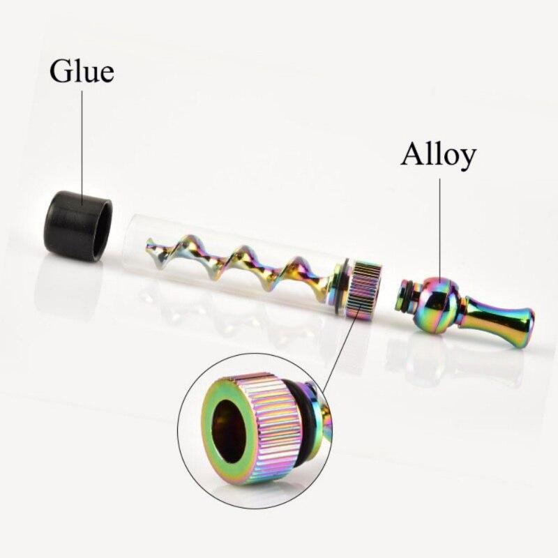 Portable Smoking Pipe Metal Tip Glass Twisty Dry Herb Atomizer Spiral Orbit Tobacco Smoke Pipe Grinder Weed Drop shipping 5