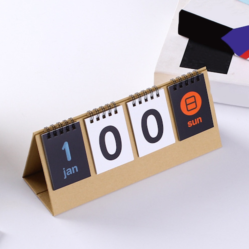 2020 Perpetual Flip Double Sided Students Vintage Desk Calendar Stationery School DIY Countdown Standing Home Office