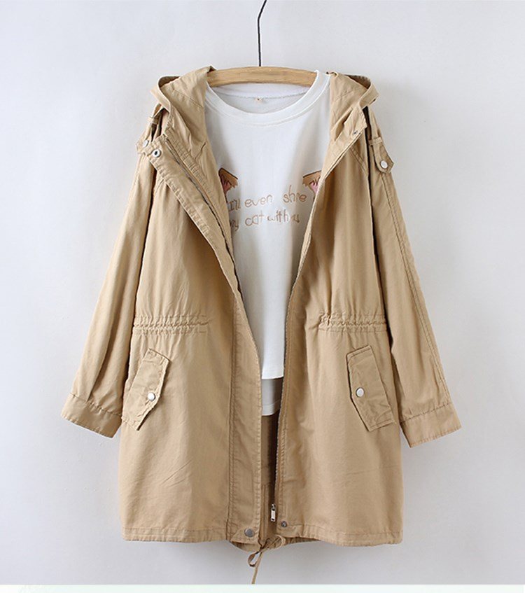 Women Preppy Style Cute   Basic     Jacket   V-Neck Hooded Solid Color Long Coat Outwear Loose Casual Coat Women Chothing