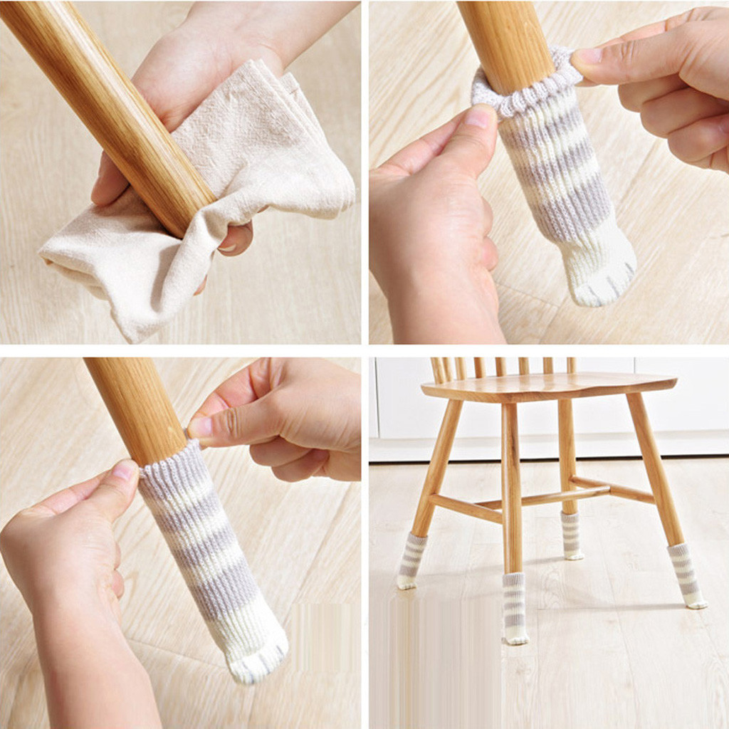 16Pcs Chair Leg Table Foot Cover Floor Protection Applique Decorative Foot Pad Knitted Table And Chair Foot Cover 12.3
