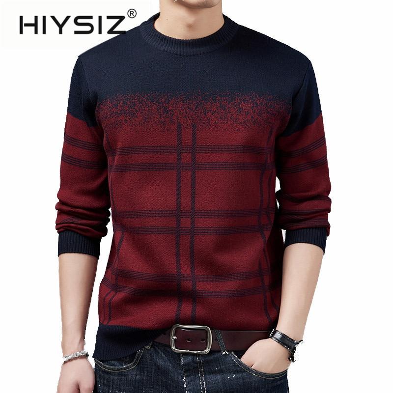 HIYSIZ Brand 2019 New Streetwear Pull Homme Men's Sweater O-neck Cotton Casual British Style Sweater Men Autumn Winter H3024