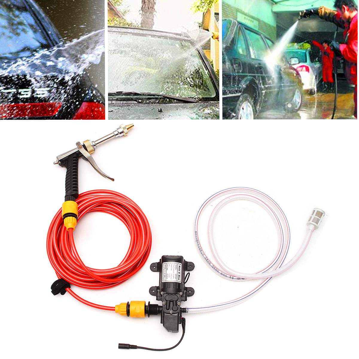 12V High Pressure Car Electric Washer Wash Pump Set Car Washer Pump Portable Auto Washing Machine Kit Car Washer Sprayer Pump