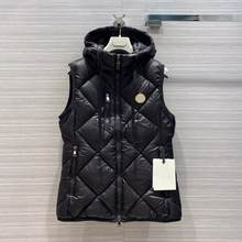2020 new runway design winter goose down vest jacket women zipper hooded pockets solid color argyle sweet casual tank coat(China)