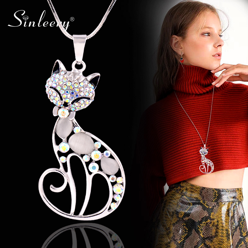 SINLEERY Cute Opal Stone Rhinestone Animal cat necklace Pendant Long Necklaces for Women Girl Jewelry Gifts MY410 SSI