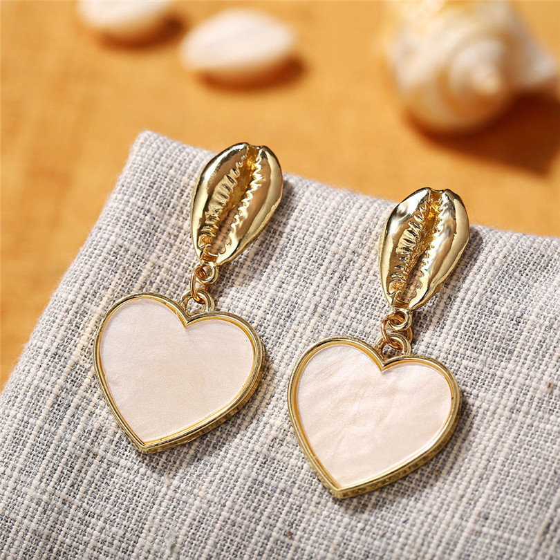 Simple Metallic Stud Earrings Gold Outer Ring Irregular Shape Love Acrylic Earrings Ladies Jewelry Boucle D`Oreille Femme 30AUG609