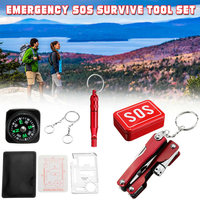 8 pçs sobrevivência ferramentas de emergência conjunto auto ajuda ao ar livre acampamento caminhadas engrenagem kit & t8