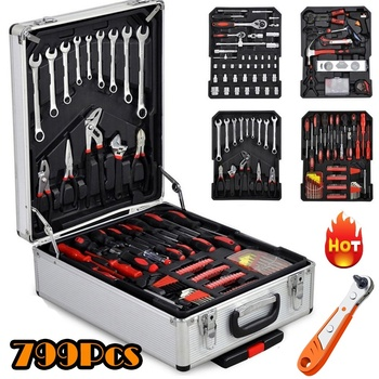 799/46pcs Tool Set Hand Tools Aluminum Trolley Case Tool Kit Wrenches Spanners Hex Socket Inserts Bicycle Car Repairing Kit Tool image