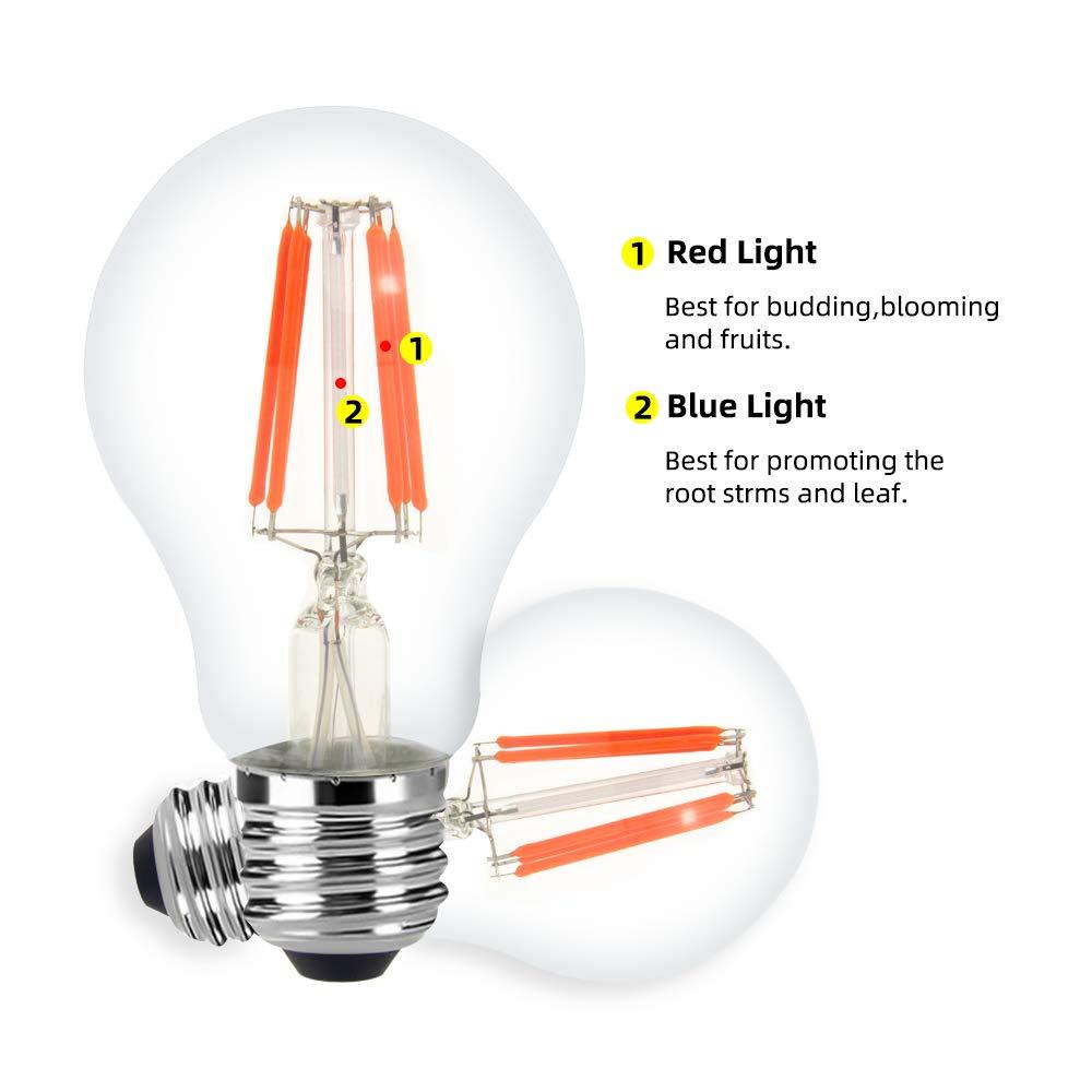 E27 E26 A60 LED Filament Bulb 8W Plant Growth Bulbs Bulb Lamp 110V 120V 220V 240V Greenhouse Plant Flowering Cultivation