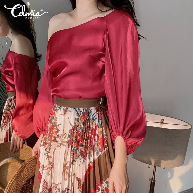 Celmia Fashion Womens Silk Blouses Lantern Sleeve Cold Shoulder Casual Plus Size Shirts Summe Tops Plus Size Satin Blusas Mujer