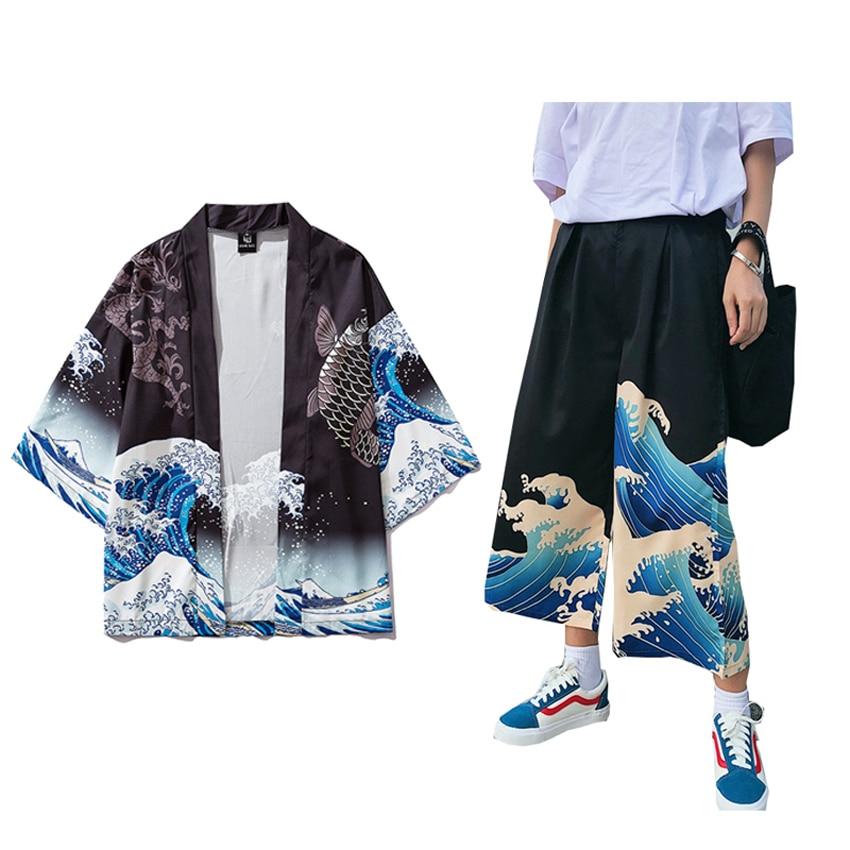 Unisex Woman Japanese Harajuku Kimono Haori Thin Sunscreen Coat Cardigan Ukiyo Man Wide Leg Pants Leisure Loose Harem Trousers