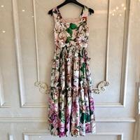 Women Boho Dress Summer Elegant Floral Print Long Dress Ladies Spaghetti Strap Dress