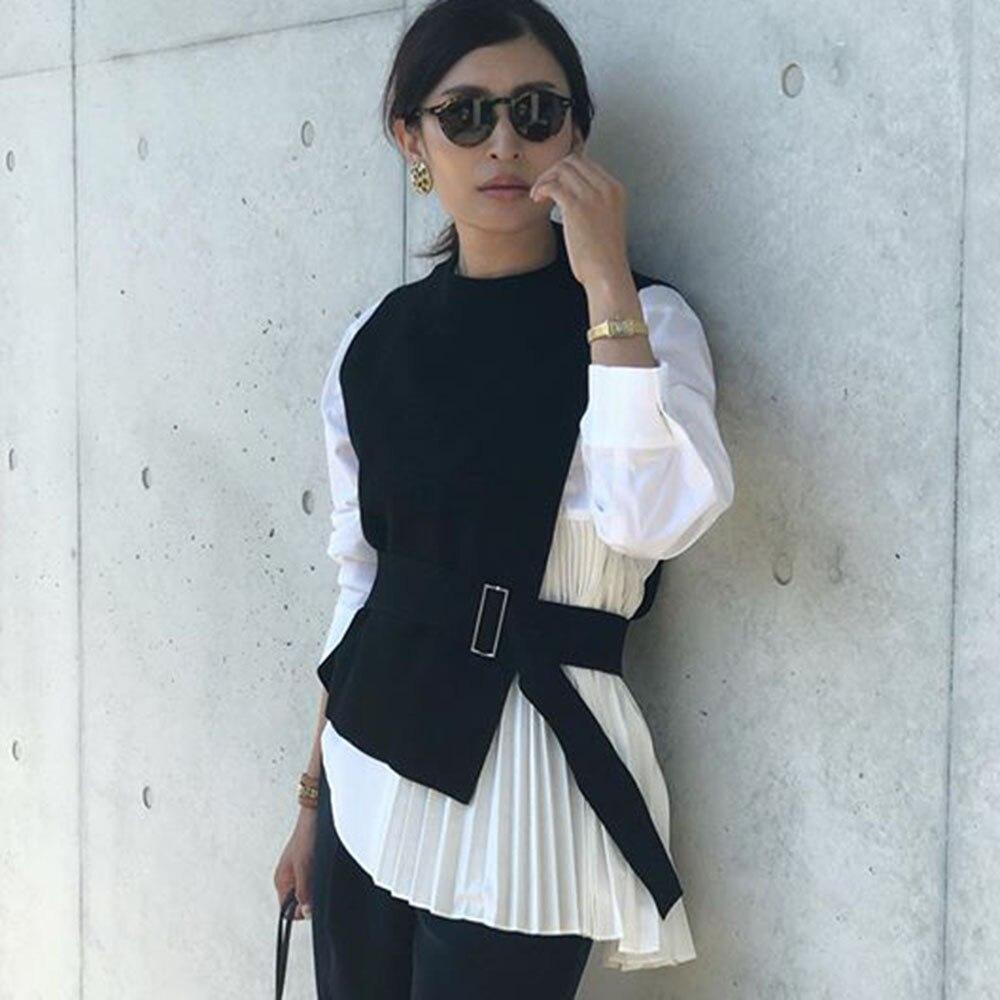 Весна длинный рукав женщины блузка 2020 корейский офис Леди мода элегантный плиссированные простой девушки белая рубашка причинно женщины топы