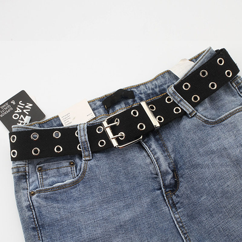 Fashion Wide Canvas   Belts   Casual Double Hollow Hole Buckle   Belt   Adjustable Solid Color Waist Strap For Women Men Students Jeans
