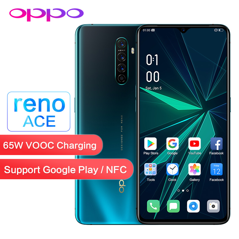 Original OPPO Reno Ace 90HZ Game Screen Support NFC Google Play Global ROM OTG 8GB 128GB 48.0MP 65W VOOC WIFI Mobile Smart Phone