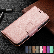 Luxury Litchi Pattern Solid Color Wallet Flip Cases For